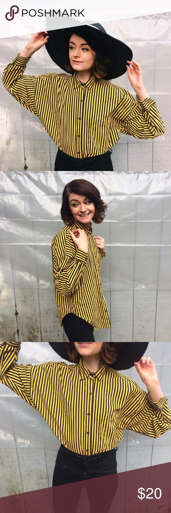 a6a72b665c Vintage Bumble Bee Yellow &a Black Striped Shirt Look at how PERFECT this  shirt is!! Make yourself standout with this beetle juice esque piece!