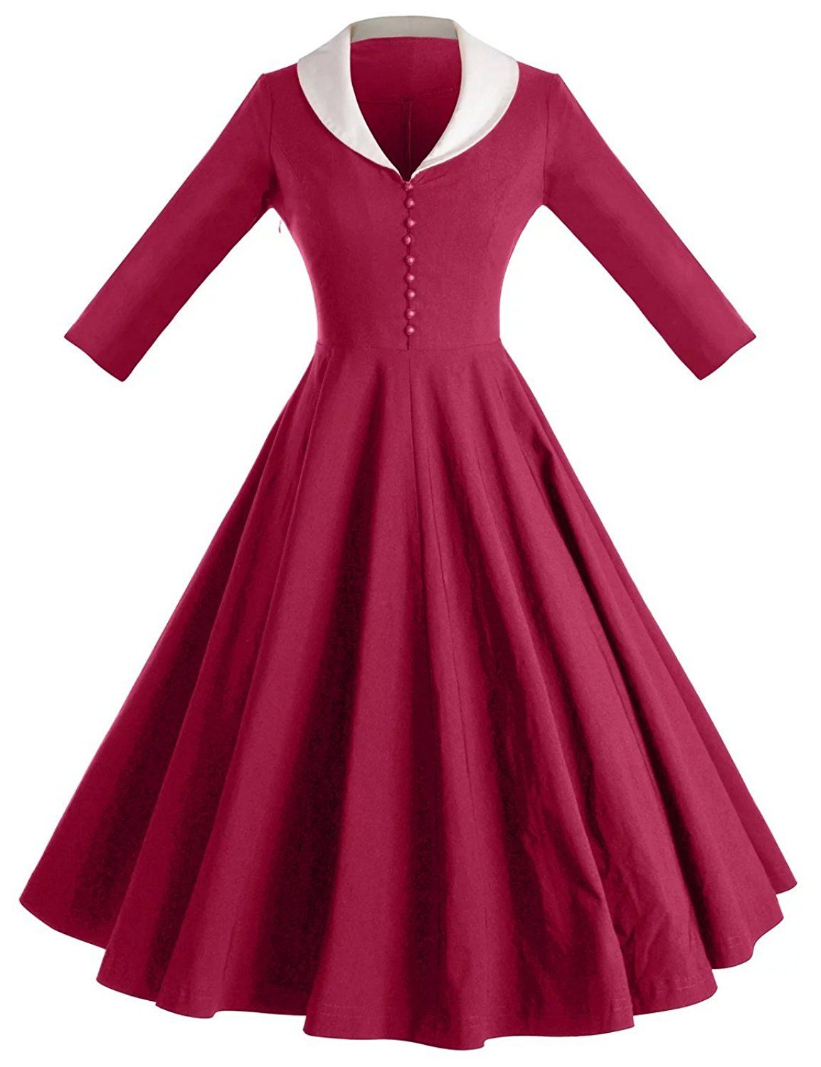 GownTown Womens Dresses cape collar 3/4 Sleeves 1950s Vintage Dresses Swing Stretchy Dresses at Amazon Women's Clothing store: https://www.amazon.com/gp/product/B01M5EPXD3/ref=as_li_qf_sp_asin_il_tl?ie=UTF8&tag=rockaclothsto-20&camp=1789&creative=9325&linkCode=as2&creativeASIN=B01M5EPXD3&linkId=7c9e45fbf6855591f9628bdef1862873