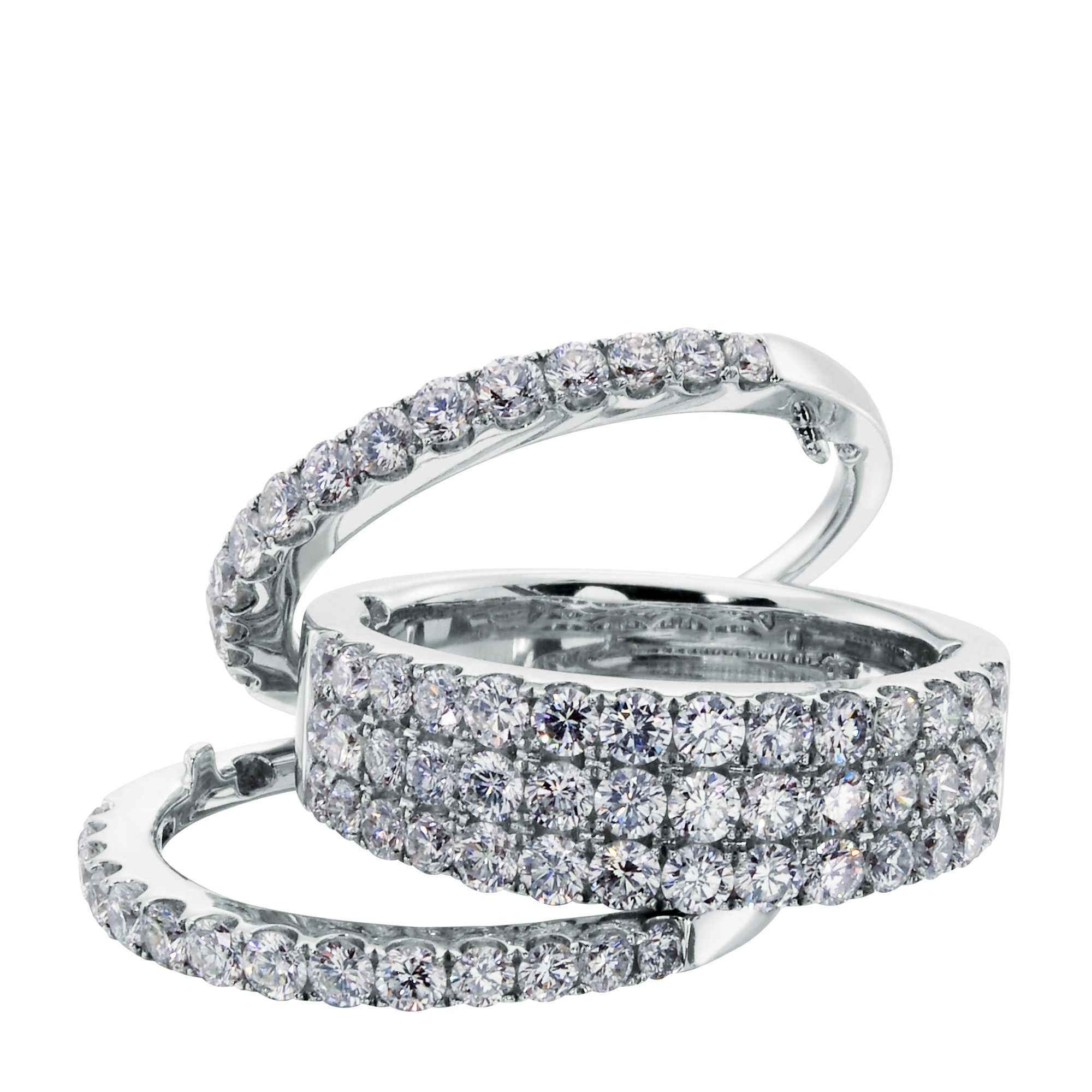 eternity jb product three row emerald bands star diamond prong shared platinum band ring cut