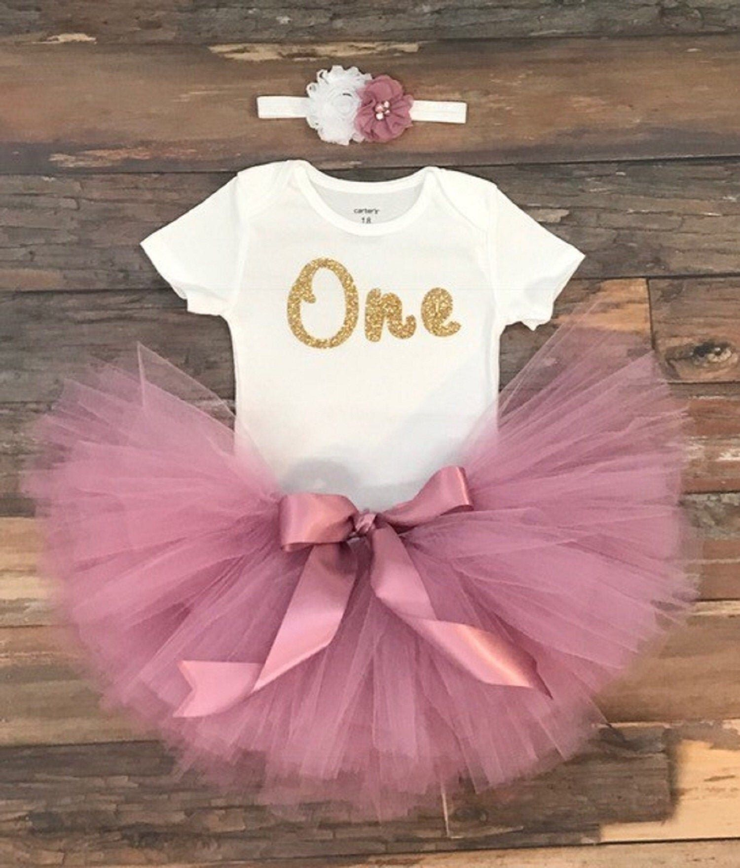 Baby girls first birthday outfit girls tutu gold one