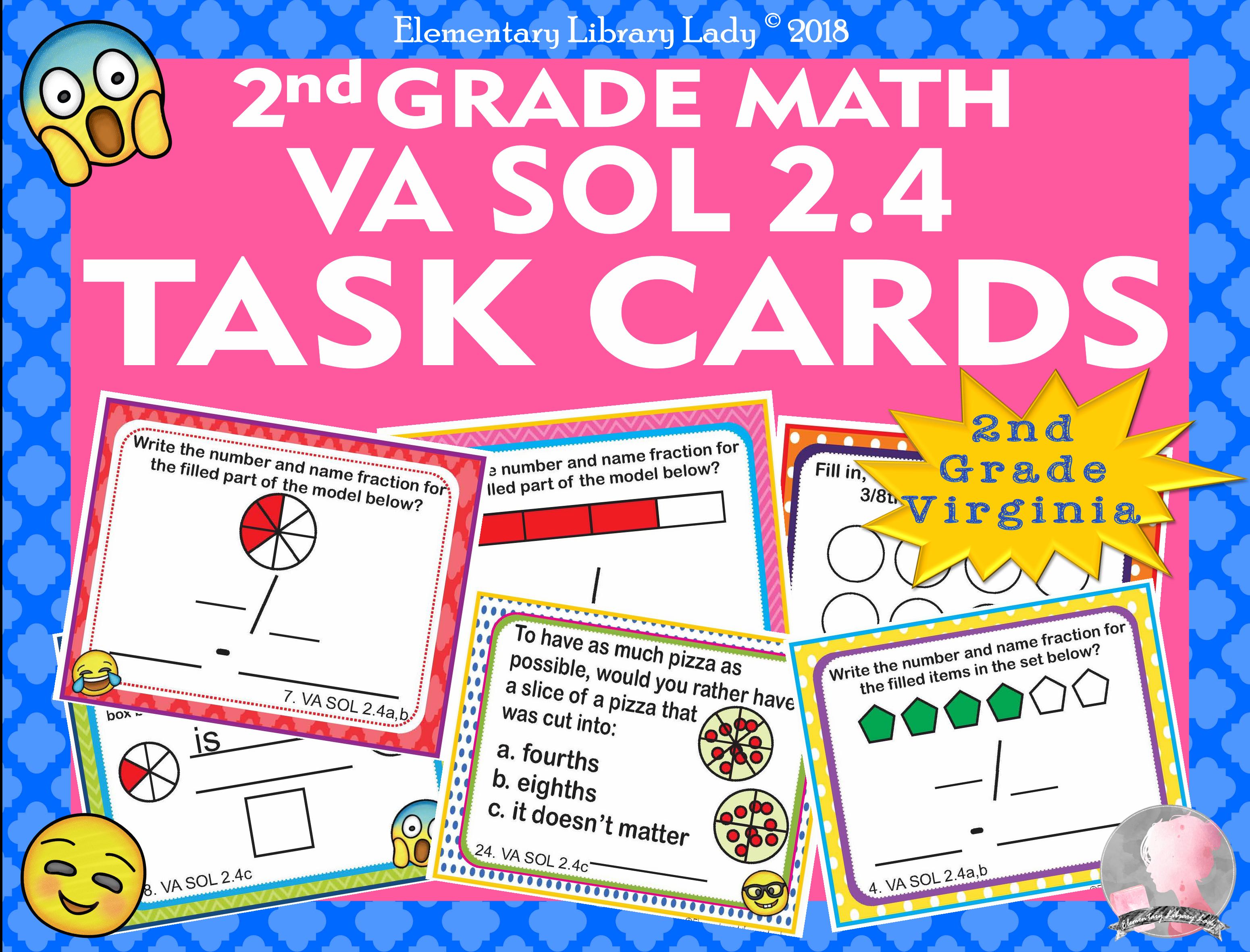 Virginia Sol Math 2nd Grade Math Task Cards Fractions Va