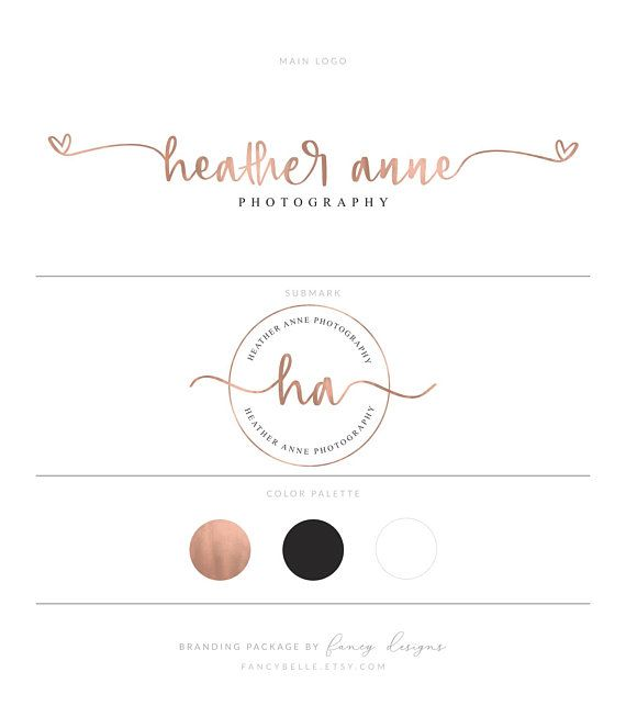 Heart Logo Design Rose Gold Logo Branding Kit Premade