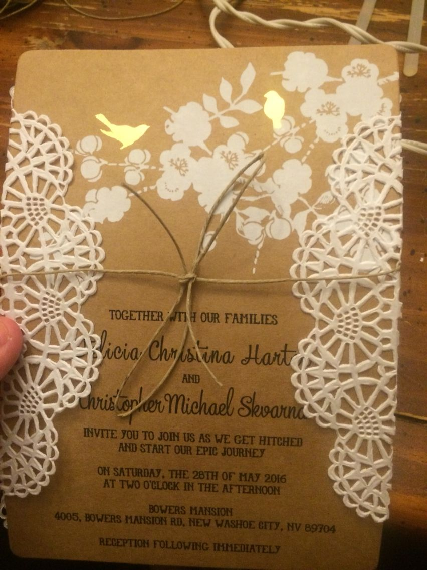 Jazzed up some walmart wedding invites with an in doilie and