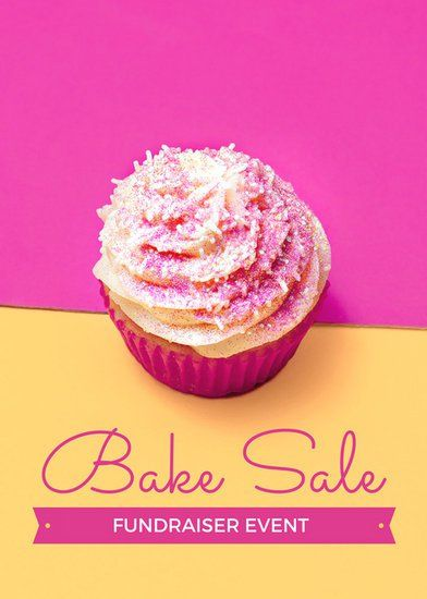 Pink and Yellow Bake Sale Fundraiser Flyer Layout Pinterest - bake sale flyer