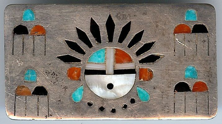 VINTAGE ZUNI INDIAN SILVER INLAID TURQUOISE CORAL ONYX SUN GOD & CLOUDS BUCKLE