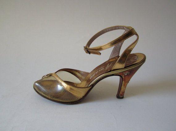 e2a2ab4e685e7 Vintage 1950s Heels / 50s Heels / Gold Peep Toe Heels / Rhinestone ...