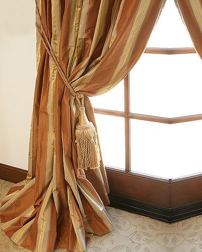 Striped Silk Taffeta Drapery With Images Custom Drapes