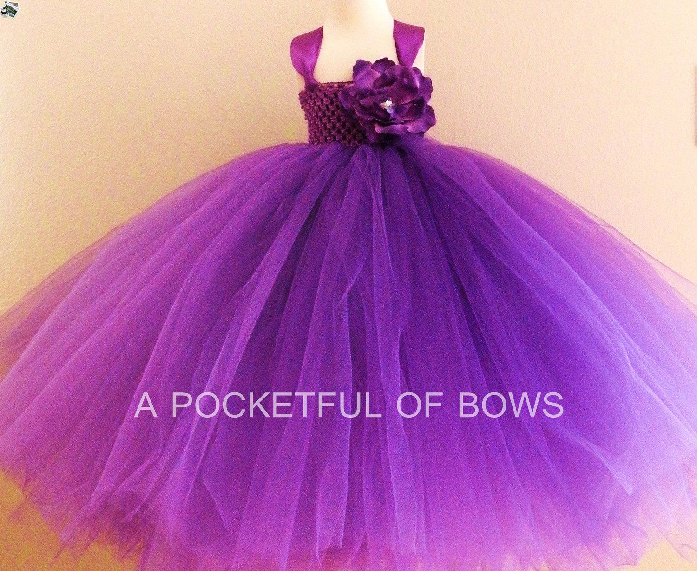 Purple Flower Girl Tutu Dress, Toddler Formal Dress, Long Tutu Dress ...
