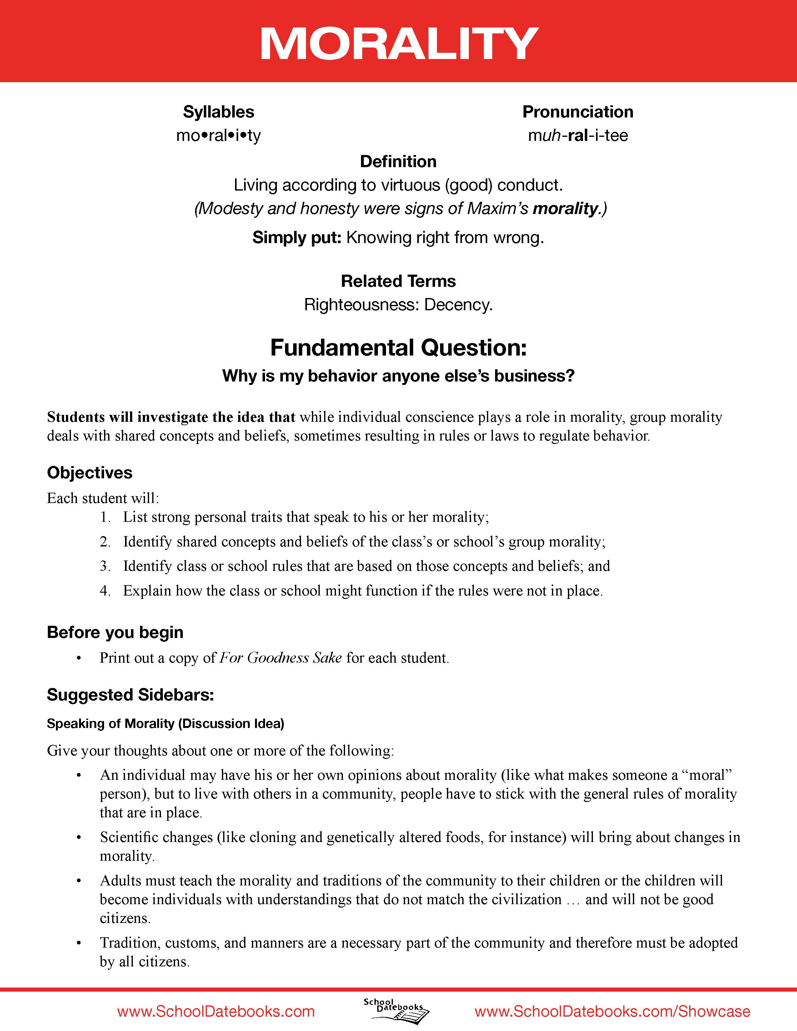 Moral Character Lesson Plan Free Downloadable 52 Total