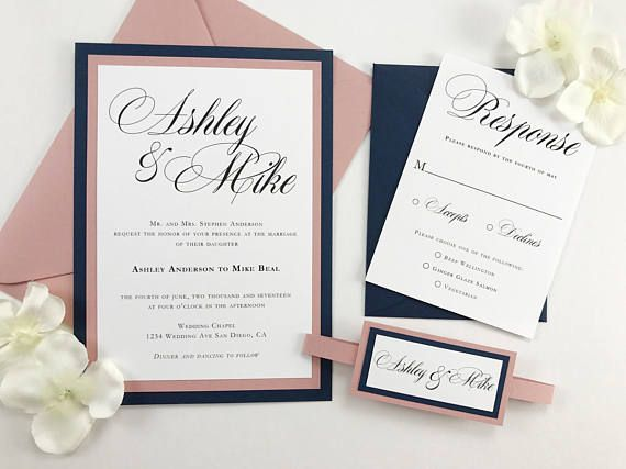 Dark Blue Wedding Invitations: Beautiful Navy And Dusty Rose Pink Wedding Invitation