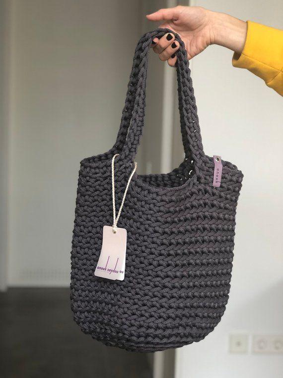 Photo of Einkaufstasche Skandinavische Art Häkeln Einkaufstasche Handgefertigte Tasche Gestrickte Handtasche MATTE GREY Farbe
