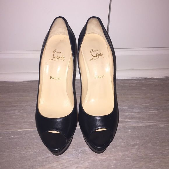 Louboutin Lady Peep 40.5 Black Leather. 40.5 Christian Louboutin Shoes Heels