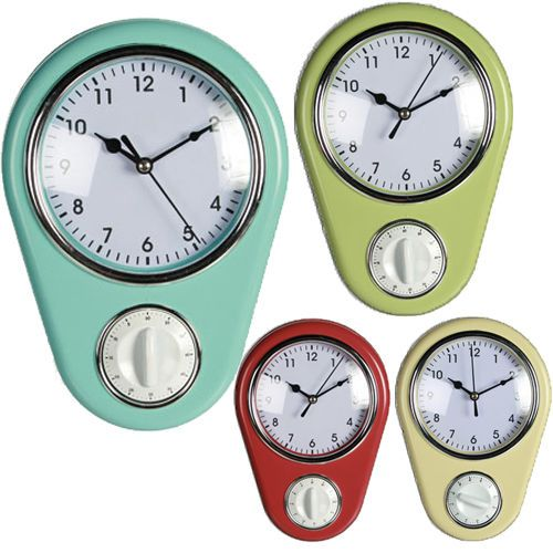 KITCHEN WALL CLOCK WITH TIMER HOME OFFICE RETRO COOKING QUARTZ NEW HANGING  AND