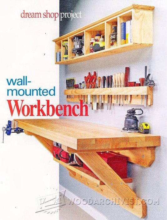 2118 wall mounted workbench plans work benches and tables garage tools home workshop garage. Black Bedroom Furniture Sets. Home Design Ideas