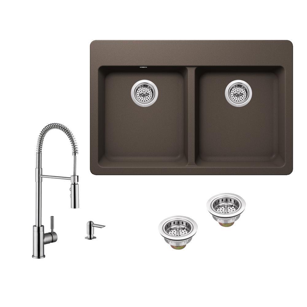 Ipt Sink Company Drop In Granite Composite 33 In 4 Hole 50 50