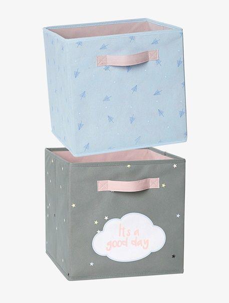 2er Set Aufbewahrungsboxen Fur Kinder Grau Blau 1
