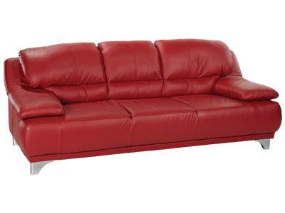 Canape Maranello 3 Places En Cuir Rouge Code Article 23781 Mobilier De Salon Canape Meuble Salon