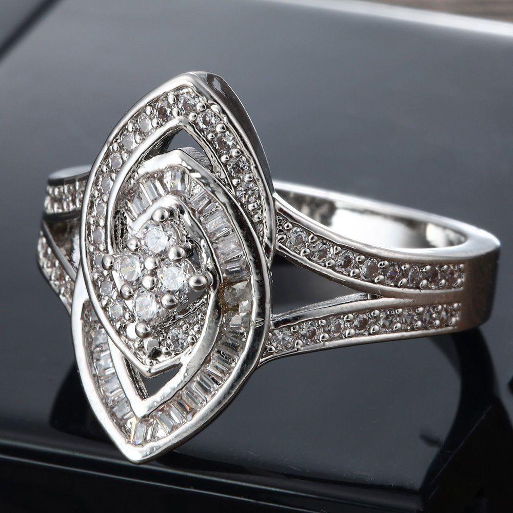 Fashion Huge White Topaz 925 Sliver Ring Women Wedding Engagement Jewelry Sz5-10