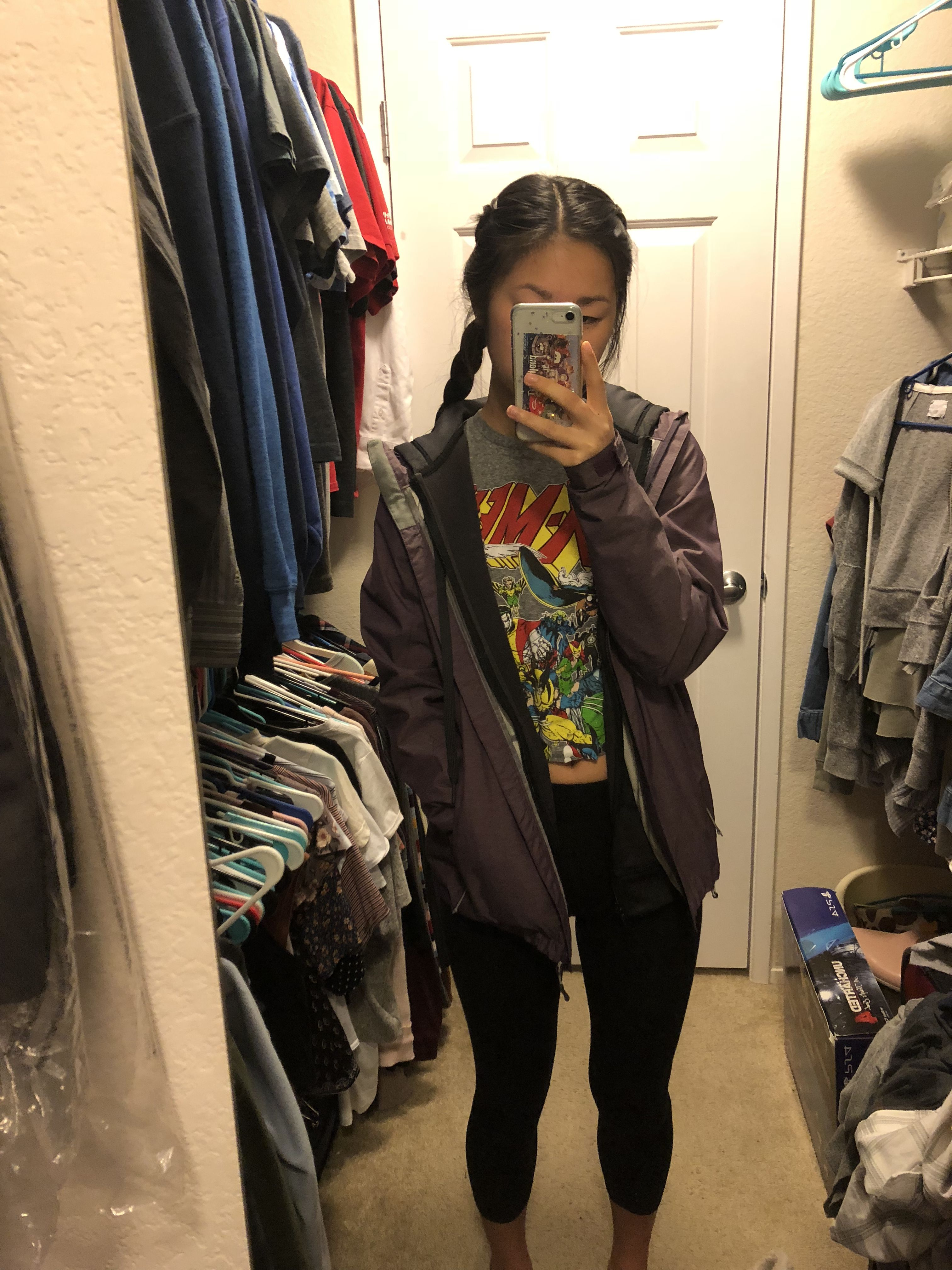 Rainy Day Outfit Leggings Cropped Graphic Tee Zip