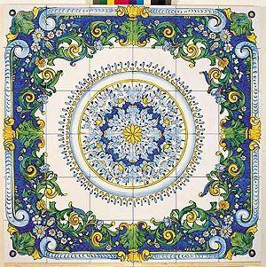 Beautiful Italian Tiles Blue Yellow And White Flly Patterns Border