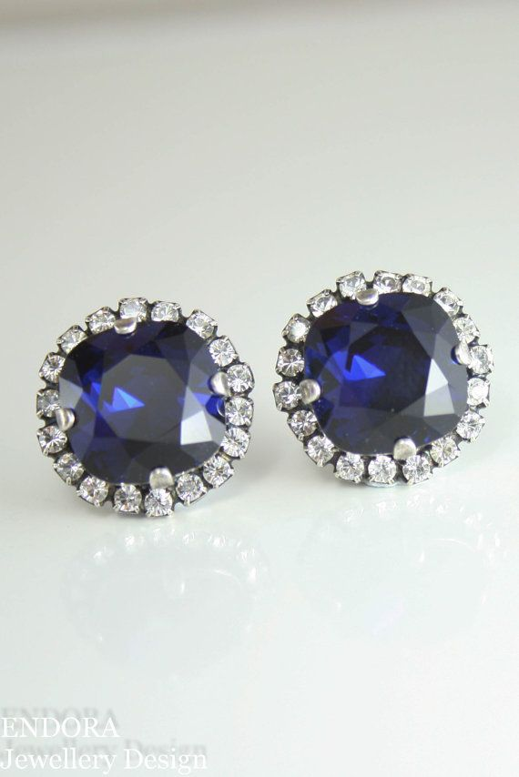 Swarovski Dark Indigo Crystal Stud Earrings Navy Blue Wedding Endorajewellery Etsy