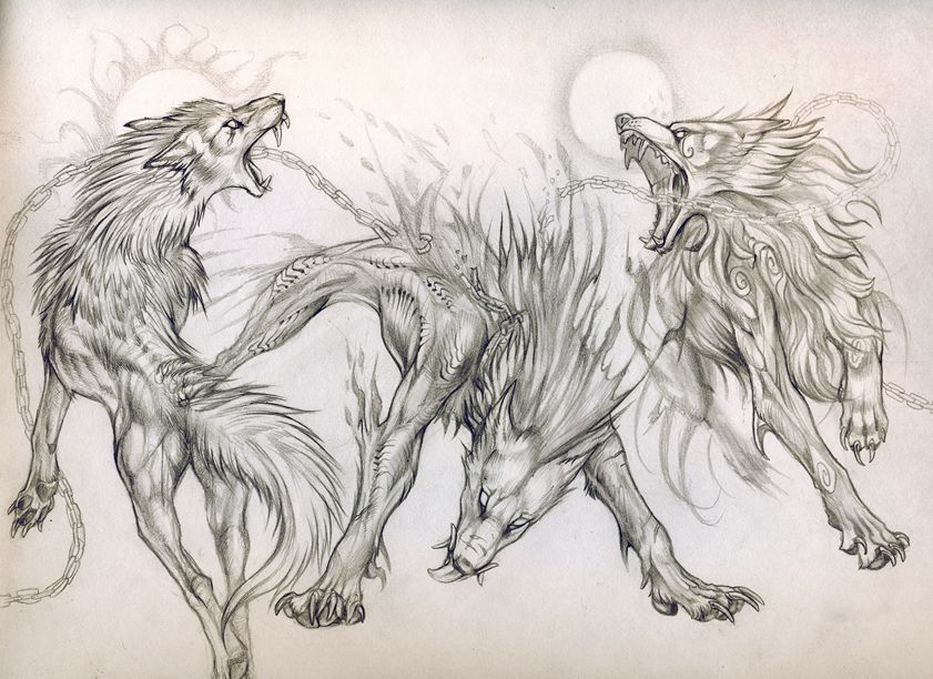 Lineart Wolf Tattoo : Beasts of ragnarok commission by exileden.deviantart.com on