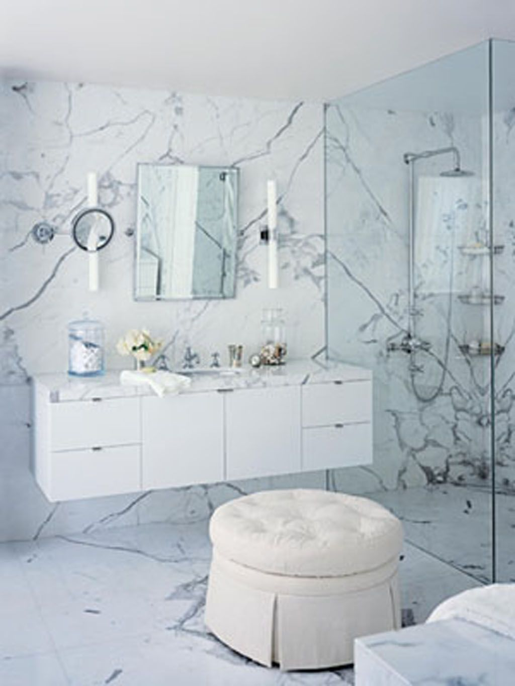White bathrooms ideas - Creative White Wall Pattern With Simple Magnificent Design In Simple All White Bathroom Ideas