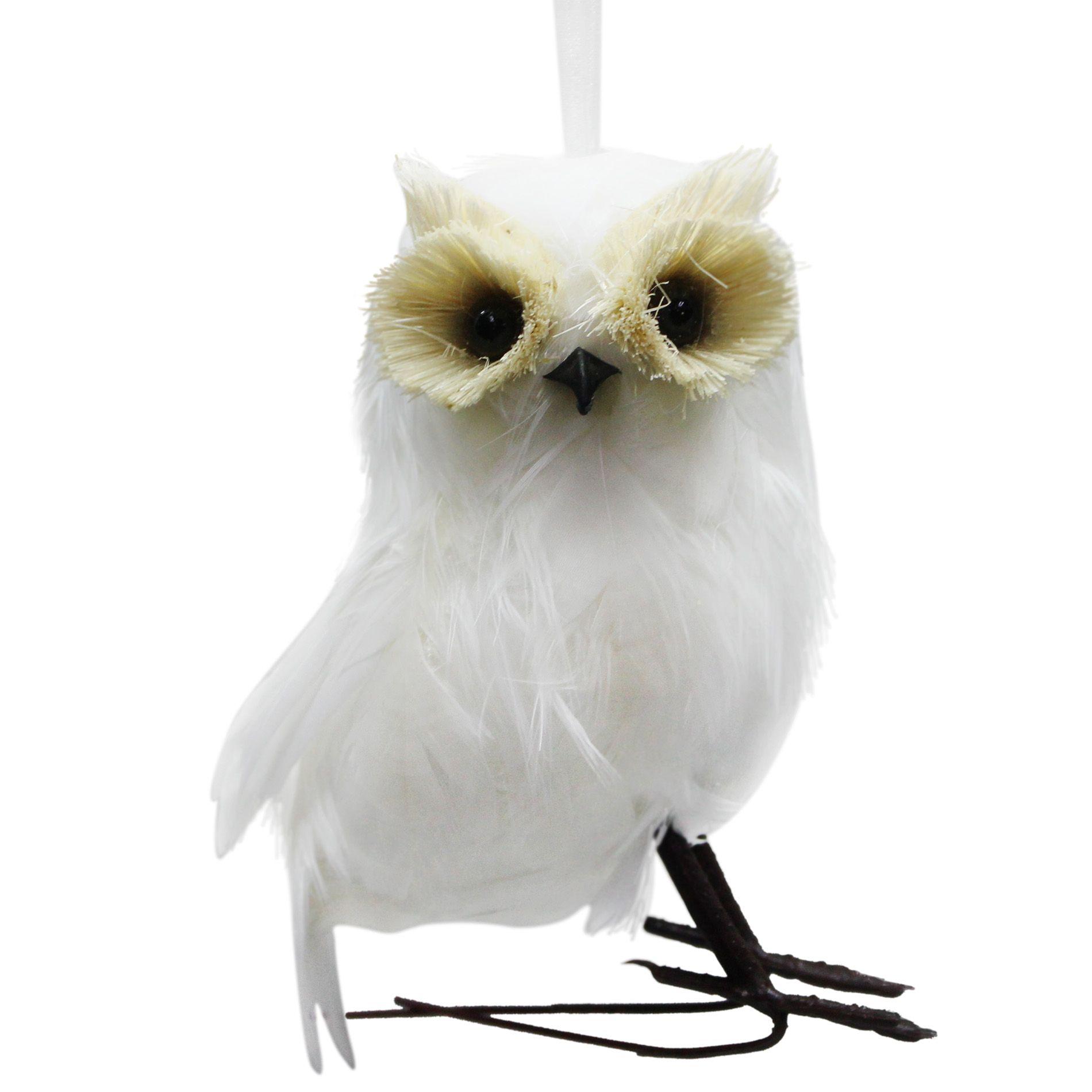 donner and blitzen inc marabou snowy owl ornament