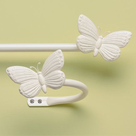 Wonderful Kids Antique White Butterfly Curtain Rod U0026 Holdbacks   28   48 Butterfly Rod  (Antique