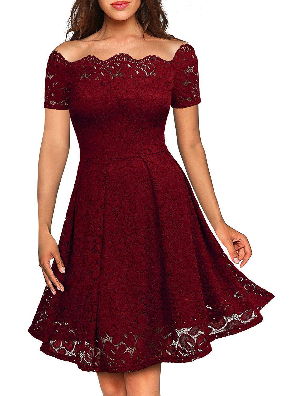 aa1a6b2ad3c2 MIUSOL Vintage Donna Vestito Pizzo Manica Corta Vestiti  Amazon.it   Abbigliamento