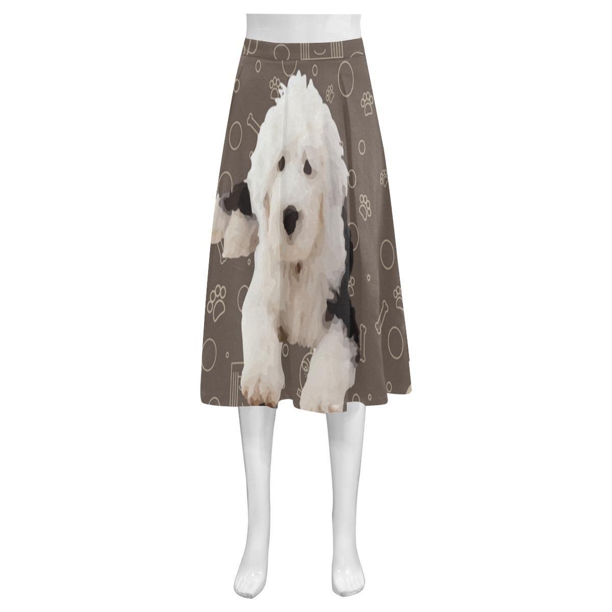 1377d0747f32  TeeAmazing -  e-joyer Old English Sheepdog Dog Mnemosyne Women s Crepe  Skirt (