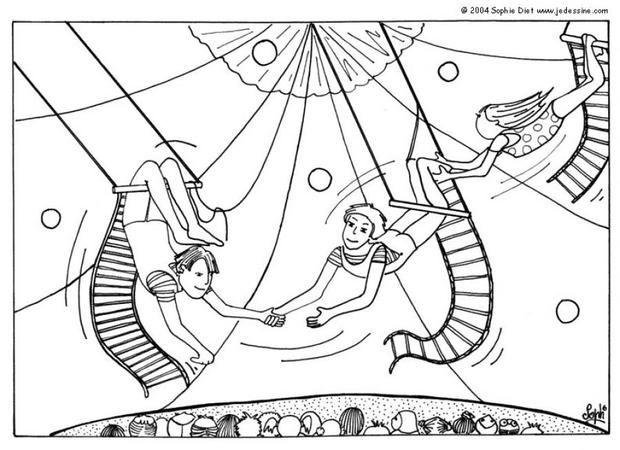 Kleurplaten Circus Trapezes.Trapeze Artists Coloring Page Circus Illustration