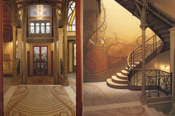 Art Nouveau Entrance And Stairwell Of The Hotel Tassel In