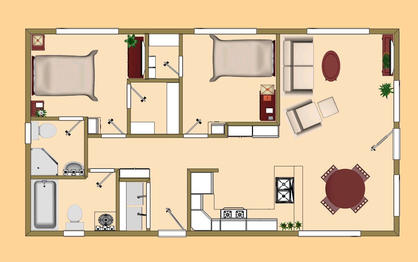 The 720 sq ft rosebud 39 s floor plan cozys 700 sq ft sq for 700 sq ft apartment design