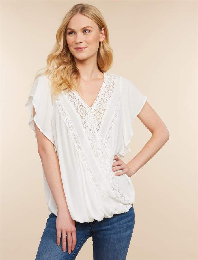 6d20e7bdb83 Jessica Simpson Motherhood Maternity Pull Down Button Front Nursing Top
