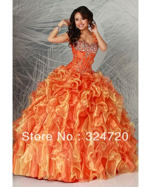 2014 brand new one shoulder ball gown  orange multi colors organza puffy Quinceanera sweet 15 Dress 80167 $168.25