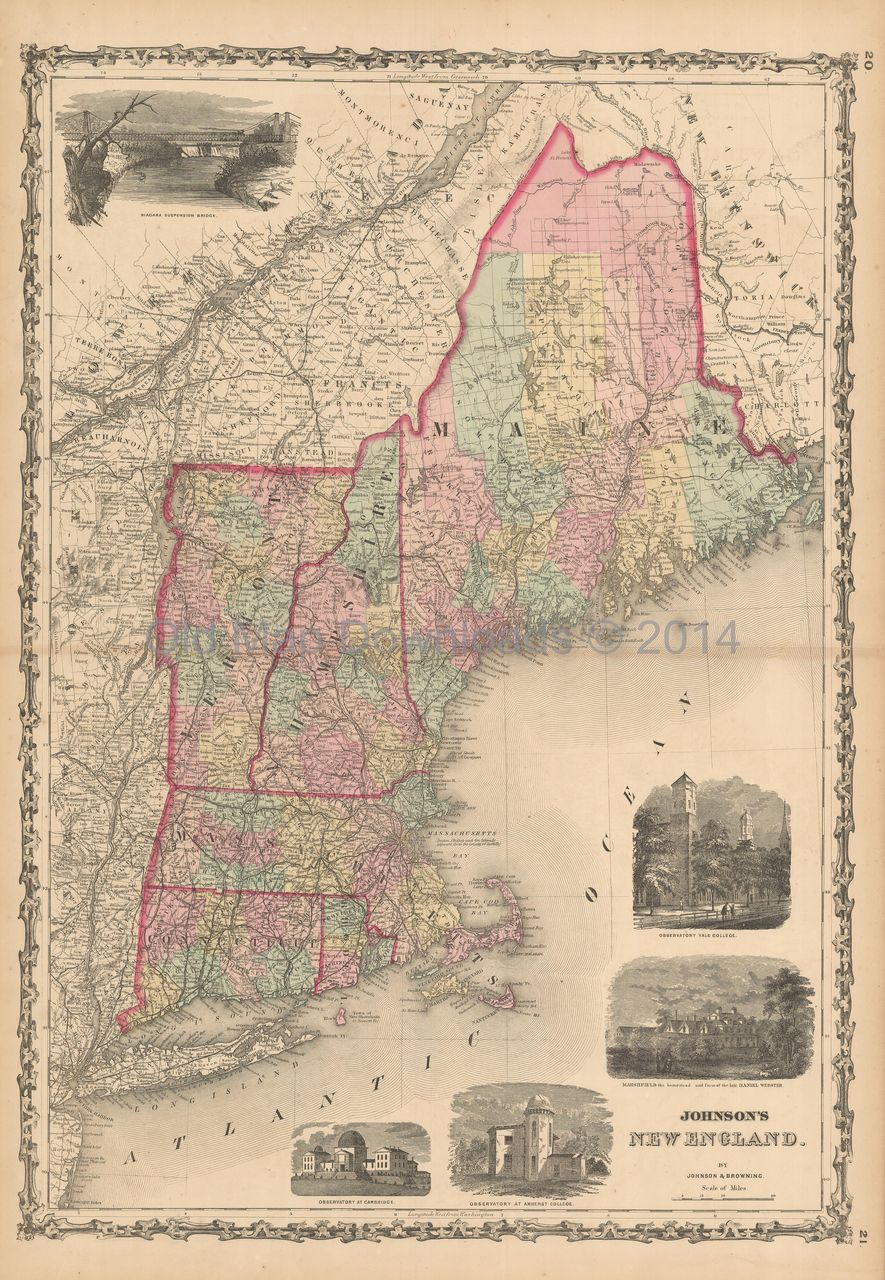 Old New England Map.New England Old Map Johnson 1861 Digital Image Scan Download