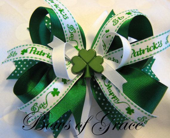 Patricks Day Bows Hairbows Shamrock Glitter Boutique Stacked Hair Bow Baby St