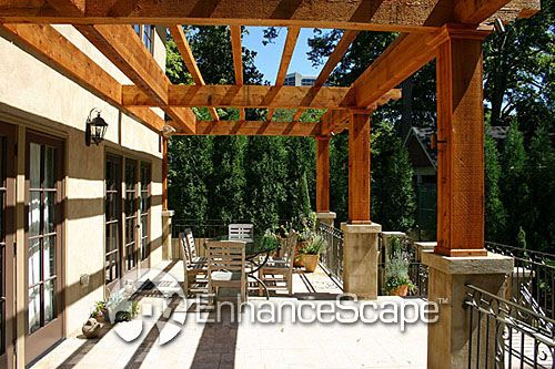 Backyard Pergola Design | Recycled concrete, Concrete patios and ...