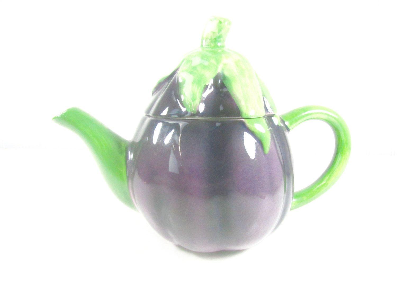 VINTAGE TEAPOT, Collectible, Eggplant Tea Pot,kitchen Decor,whimsical,  Purpleu2026