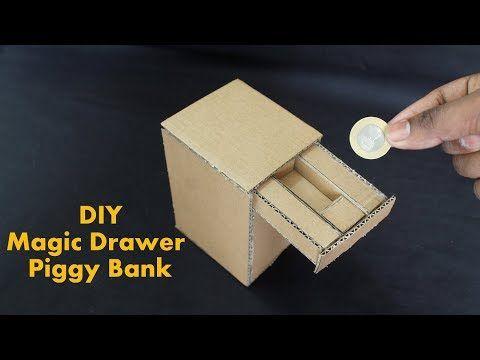 How to Make a Magic Drawer Piggy Bank With Cardboard - DIY Kids Piggy Bank - YouTube