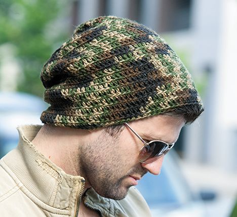 Free Crochet Man\'s Camo Hat and Scarf Pattern