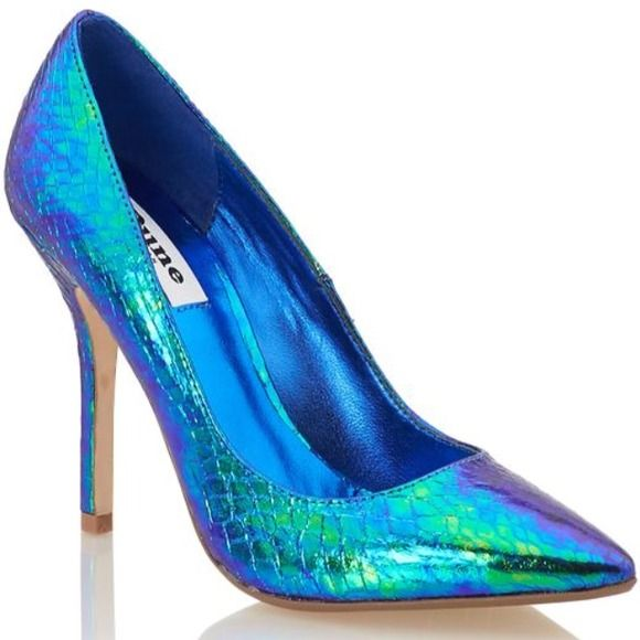 Blue green metallic stilettos NWT | Dune, Blue green and Stilettos
