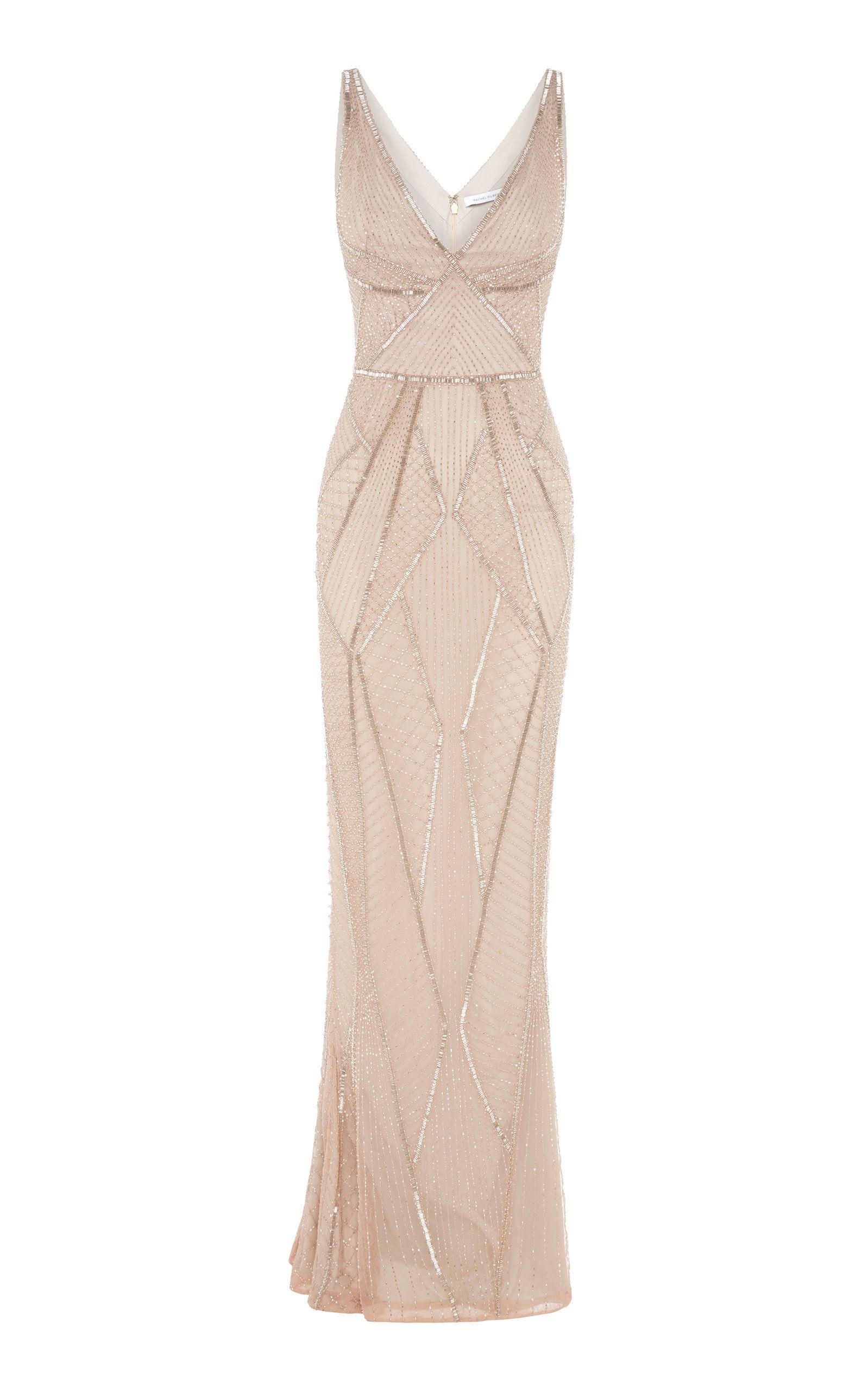 77e8b3d91a0 Rachel Gilbert Kylah Hand Embellished V-Neck Gown