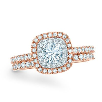 1 CT TW Diamond Double Frame Bridal Set in 14K Rose Gold View