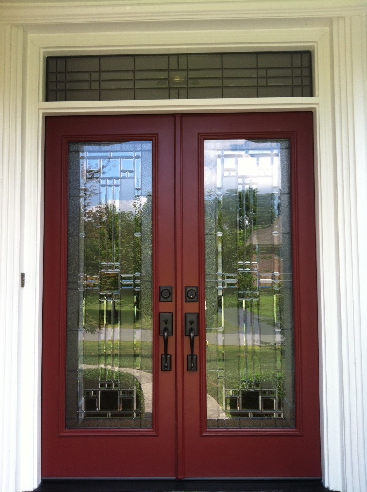 Provia Signet French Entry Door System With Full Light Decorative Glass And  Custom Transom To Match.