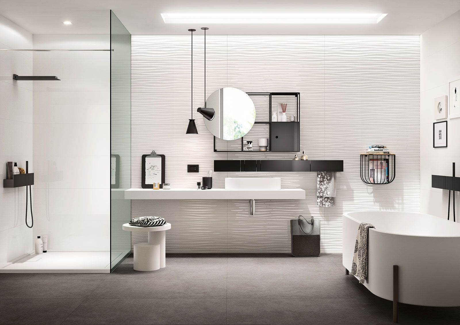 essenziale - carrelage blanc pour salle de bain structures 3d