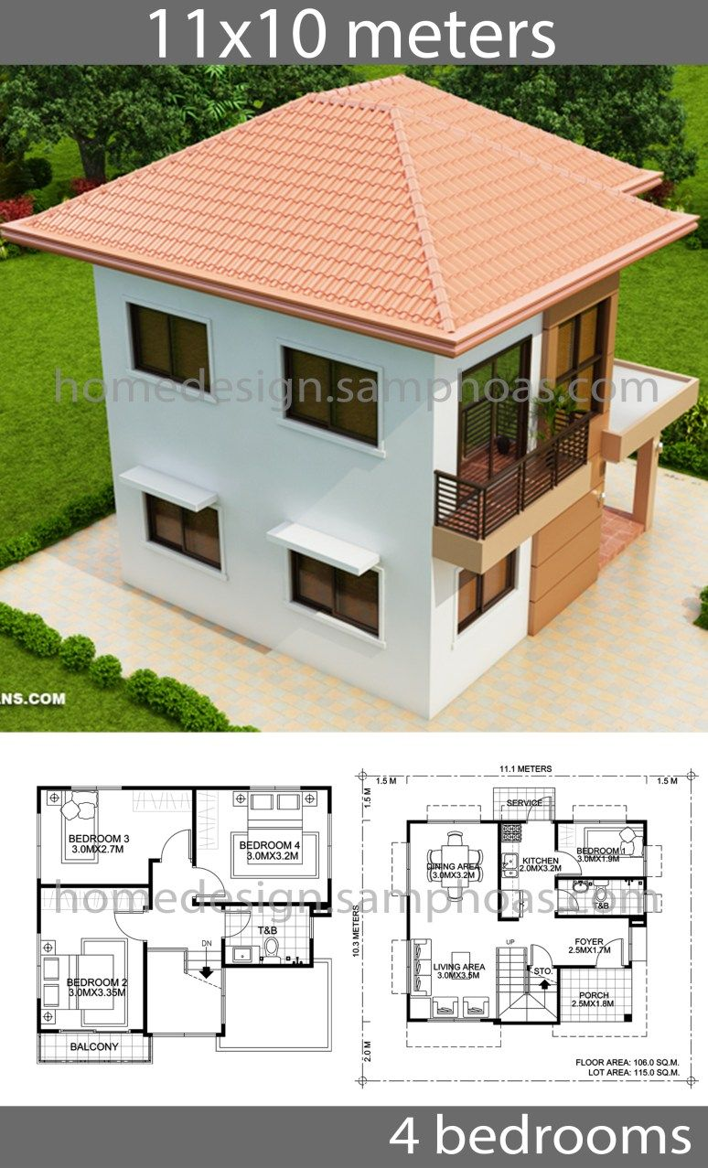 House Design Plans 10x11m With 4 Bedrooms House Idea In 2020 My House Plans Affordable House Plans Model House Plan