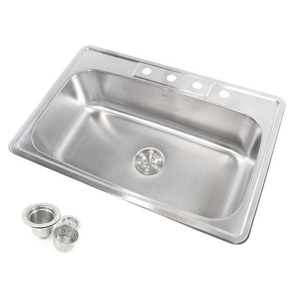 Stainless Steel Top Mount Drop In Single Bowl Kitchen Sink