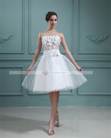 Tulle Applique Beading Sweetheart Short Bridal Gown Wedding Dress